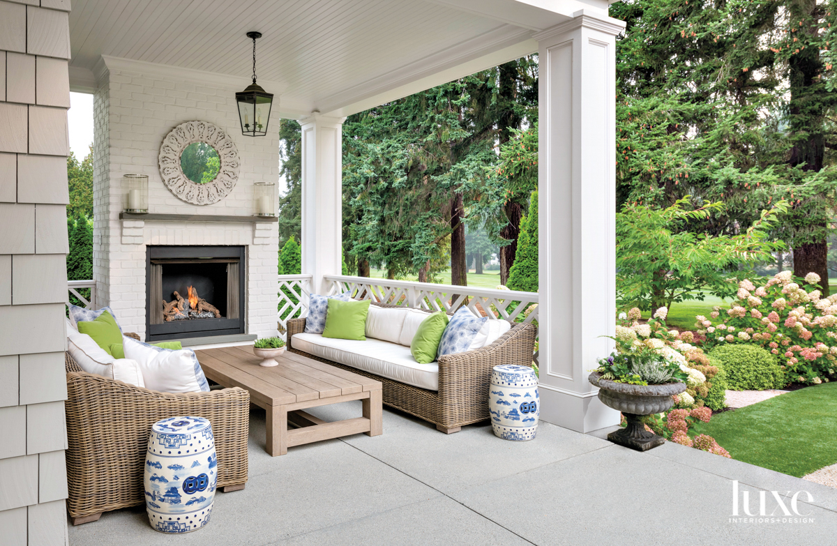 Covered outdoor room with fireplace...