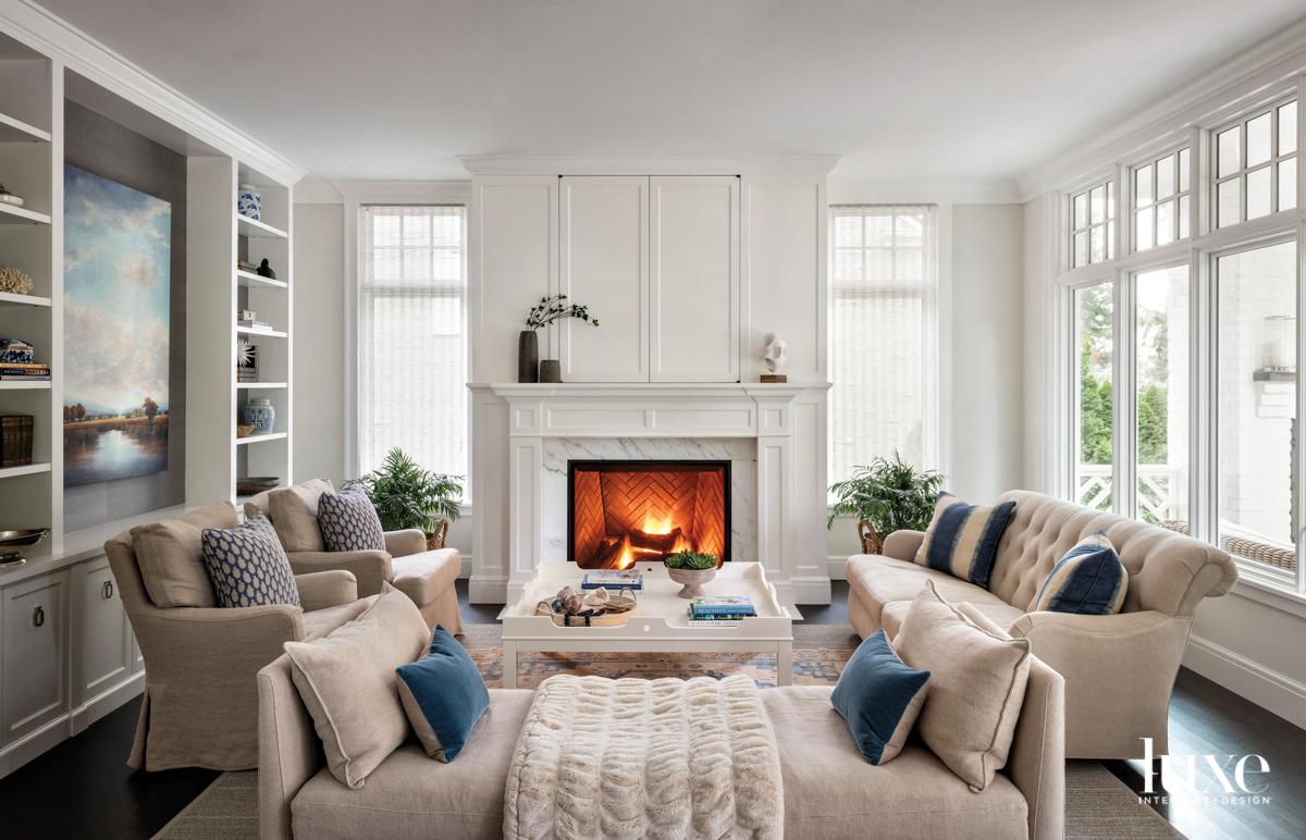 Living room centered around a...