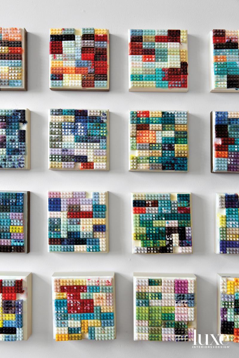 Patti Bowman encaustic colorful LEGO paintings