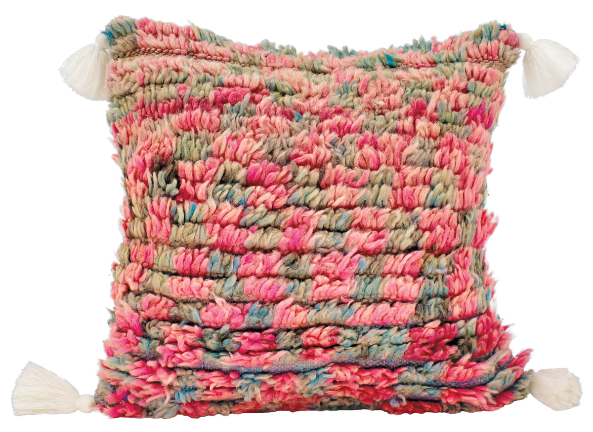 red textured pillow