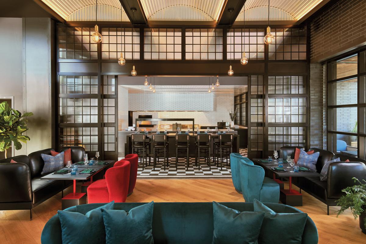 lobby area with blue sofa