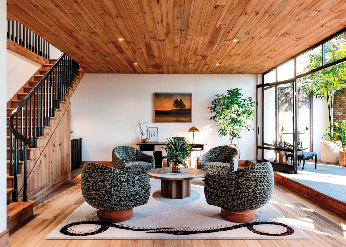 living area with quartet of chairs