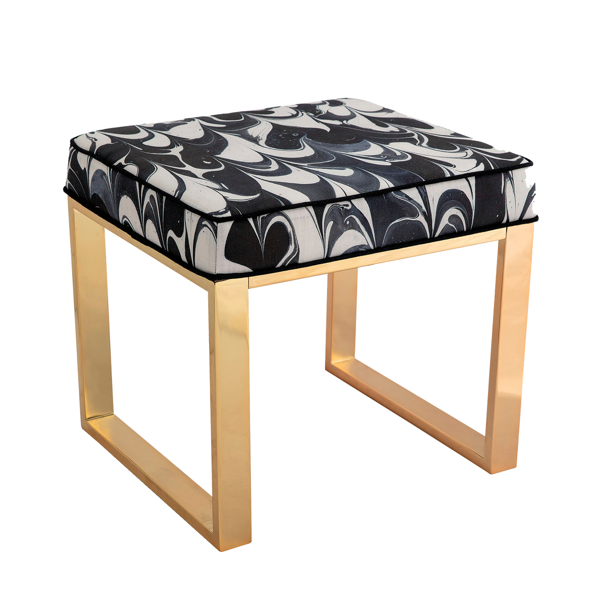 stool with black and white marbling fabric