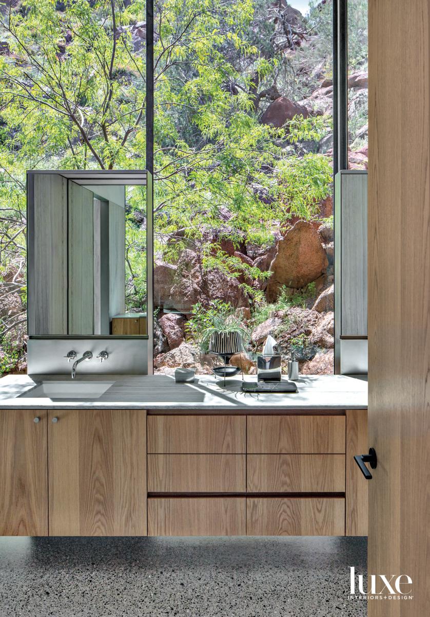 A bathroom vanity that looks...