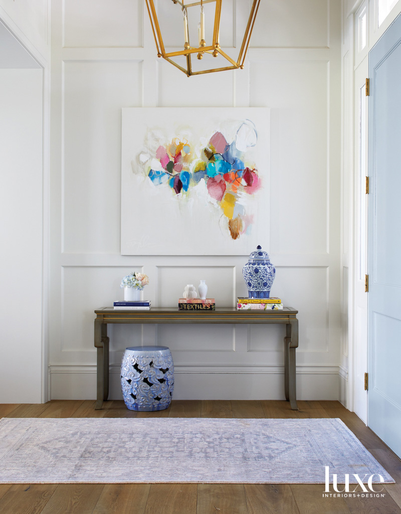 A foyer with a bright...