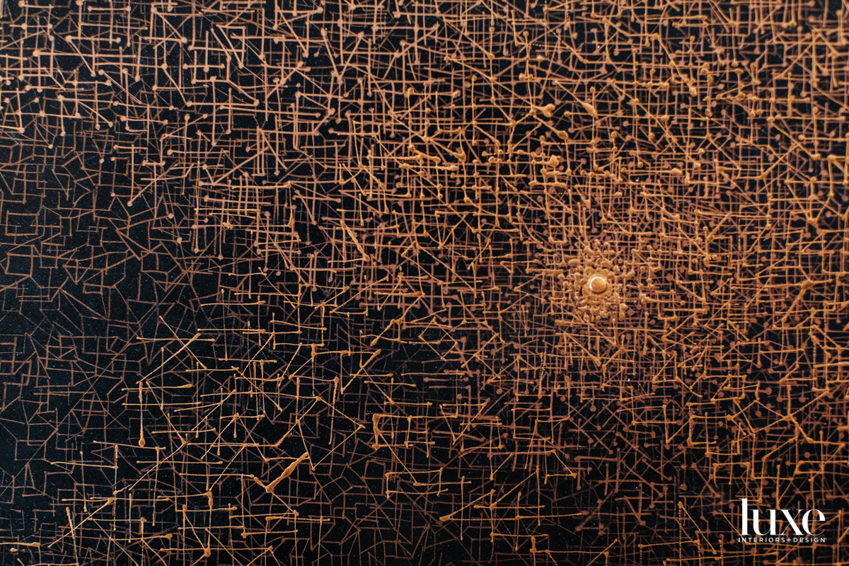 Copper lines on a black background.