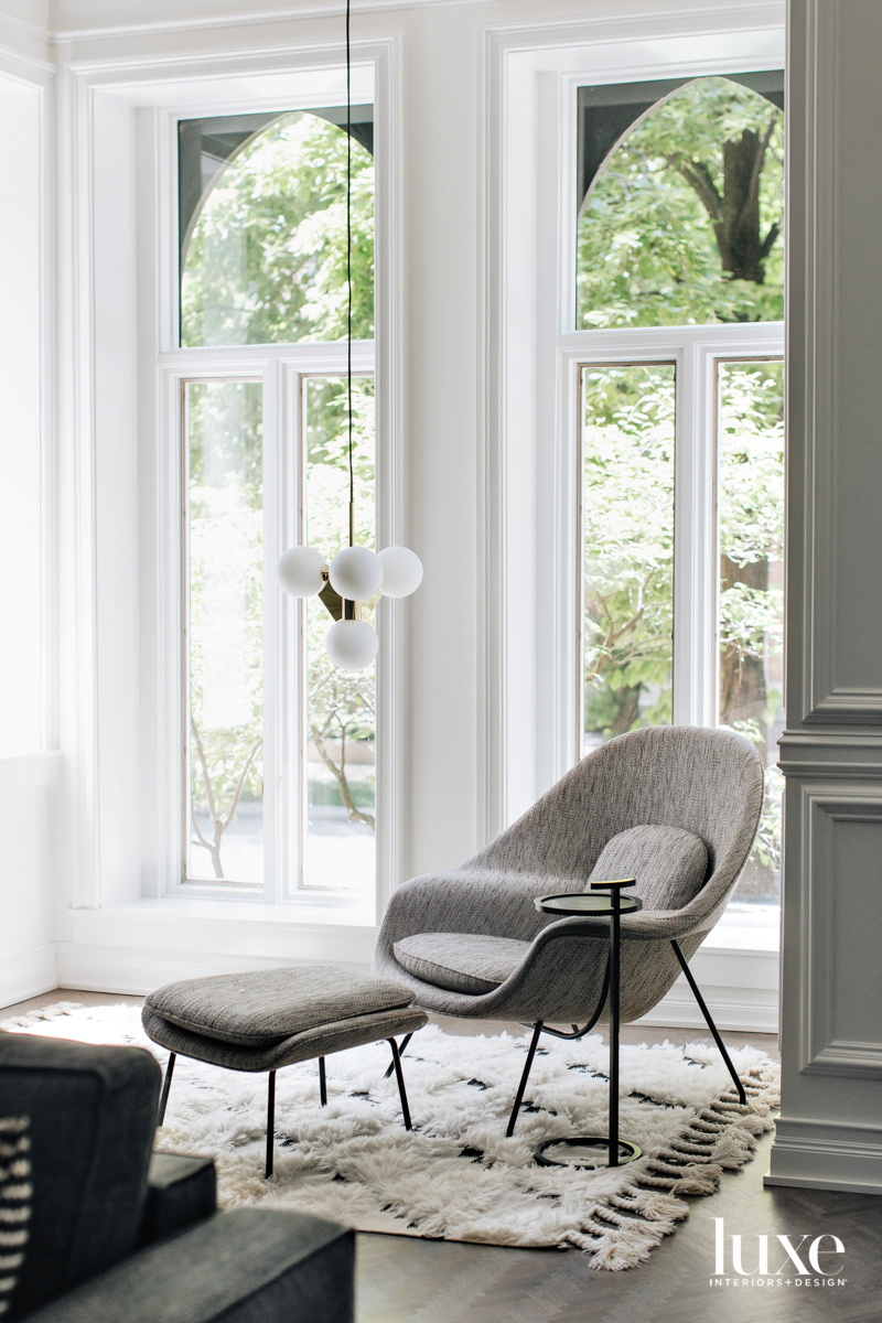A corner seating area with...