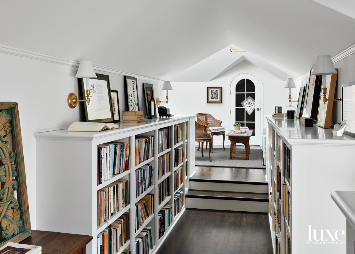 A book-lined room that looks...