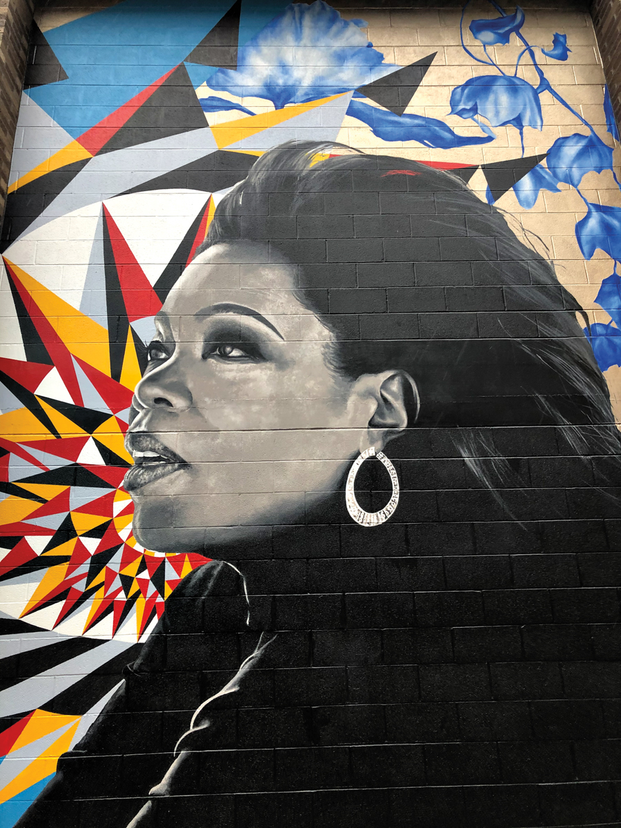 painted mural of Oprah Winfrey on Chicago building