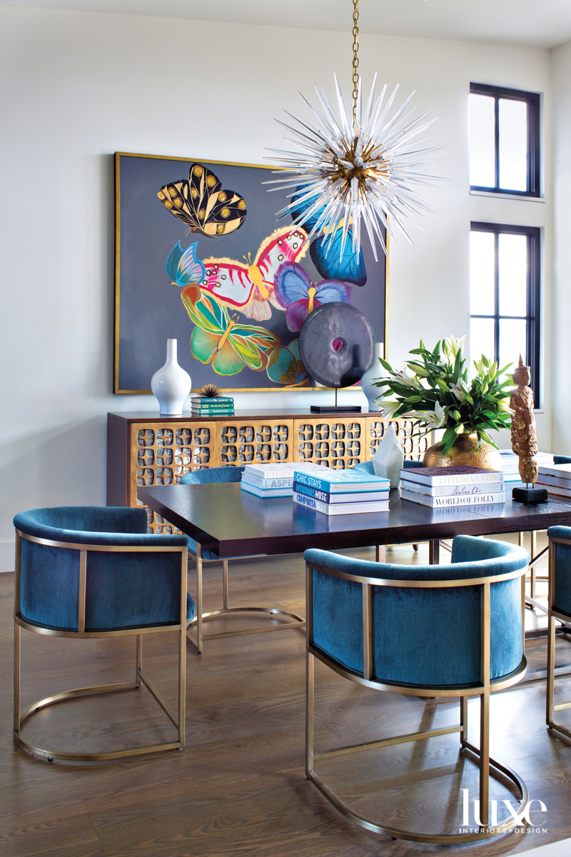 Colorful artwork decorates the dining...