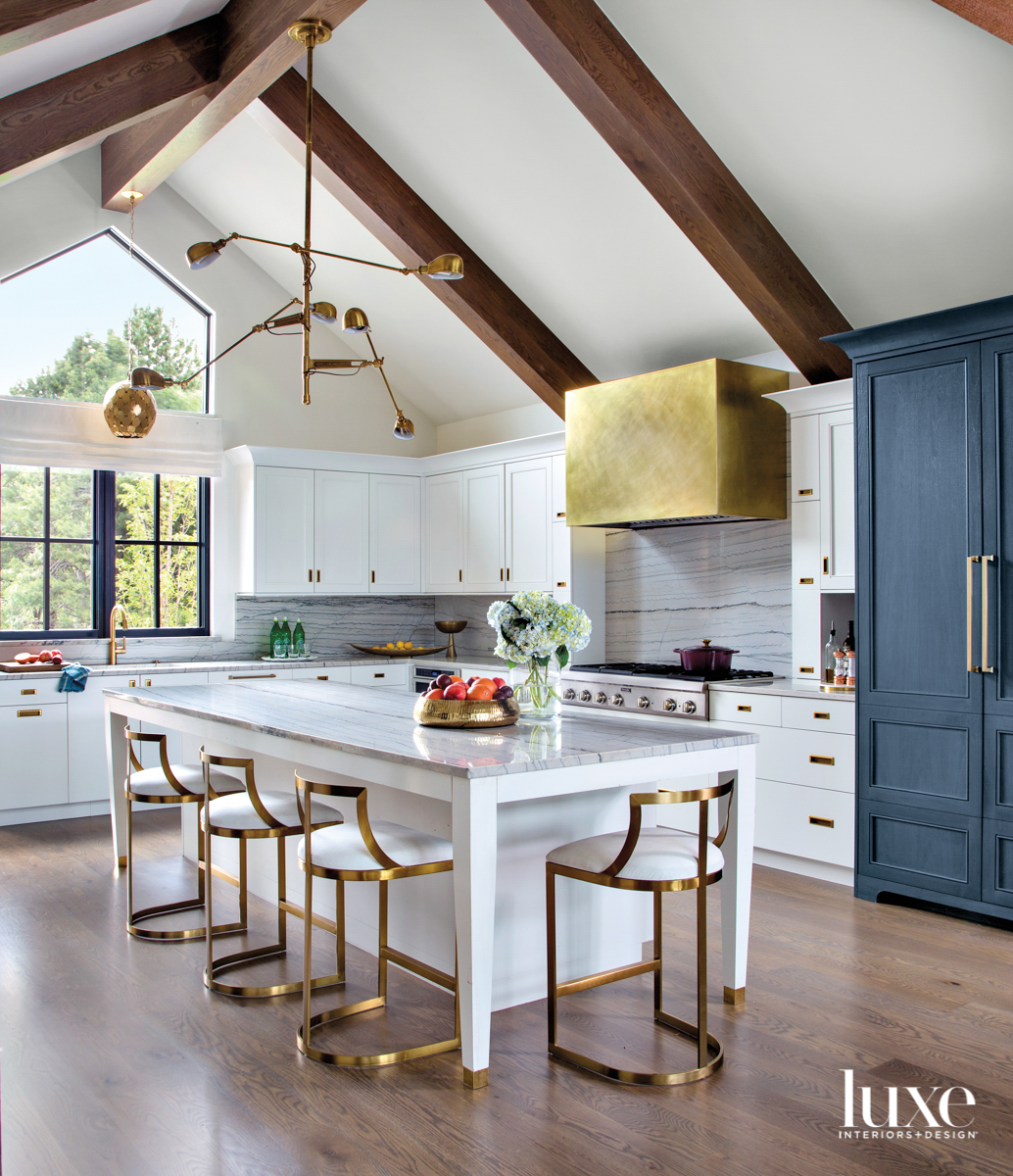 white kitchen with blue accent...