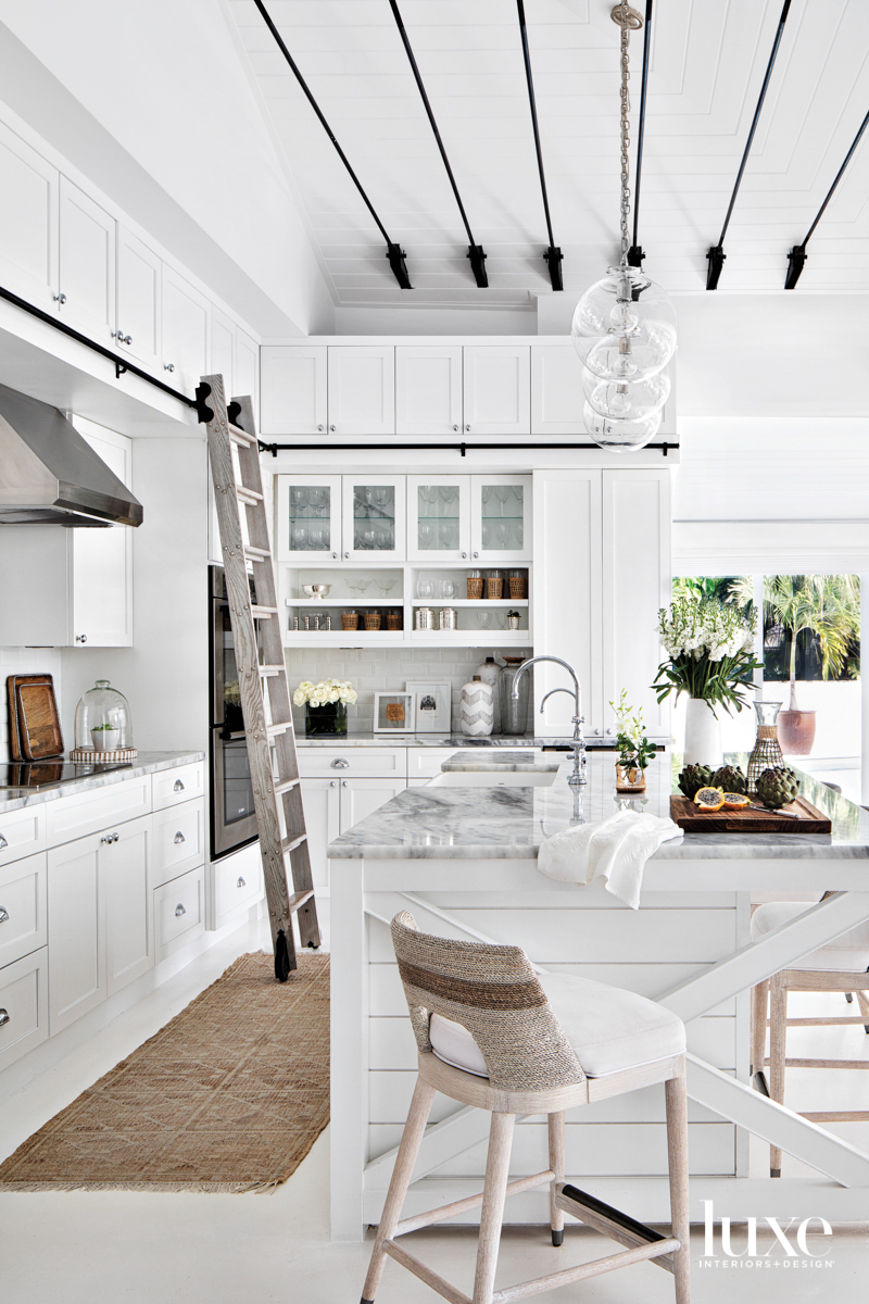 white kitchen with black ceiling...