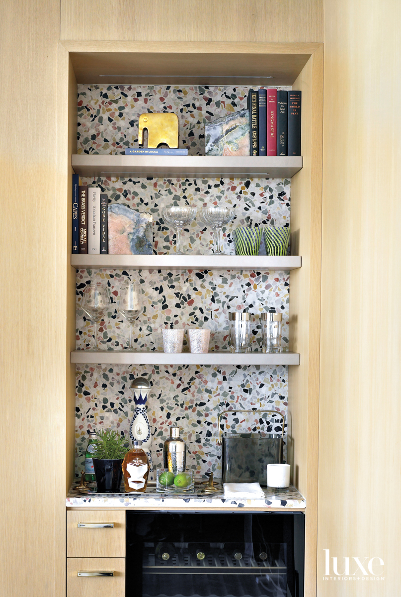 bar shelving with terrazzo backdrop
