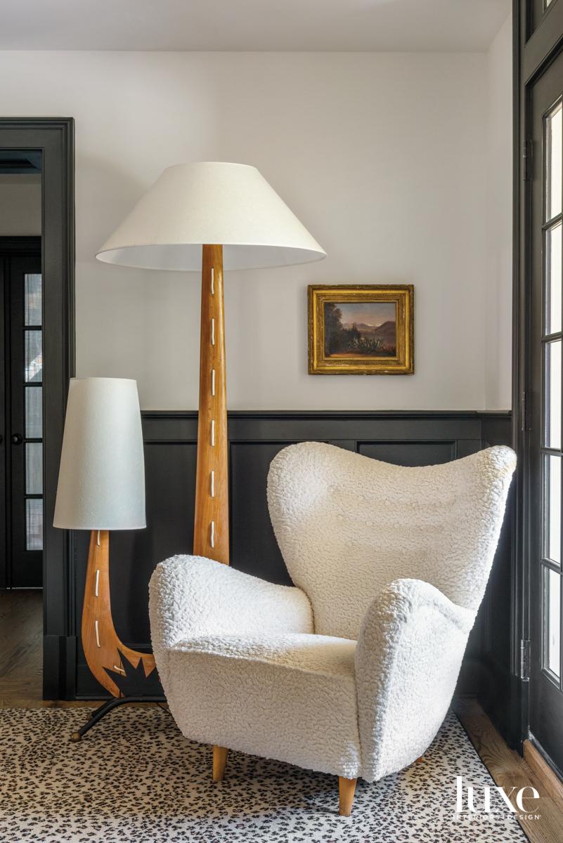 white boucle chair