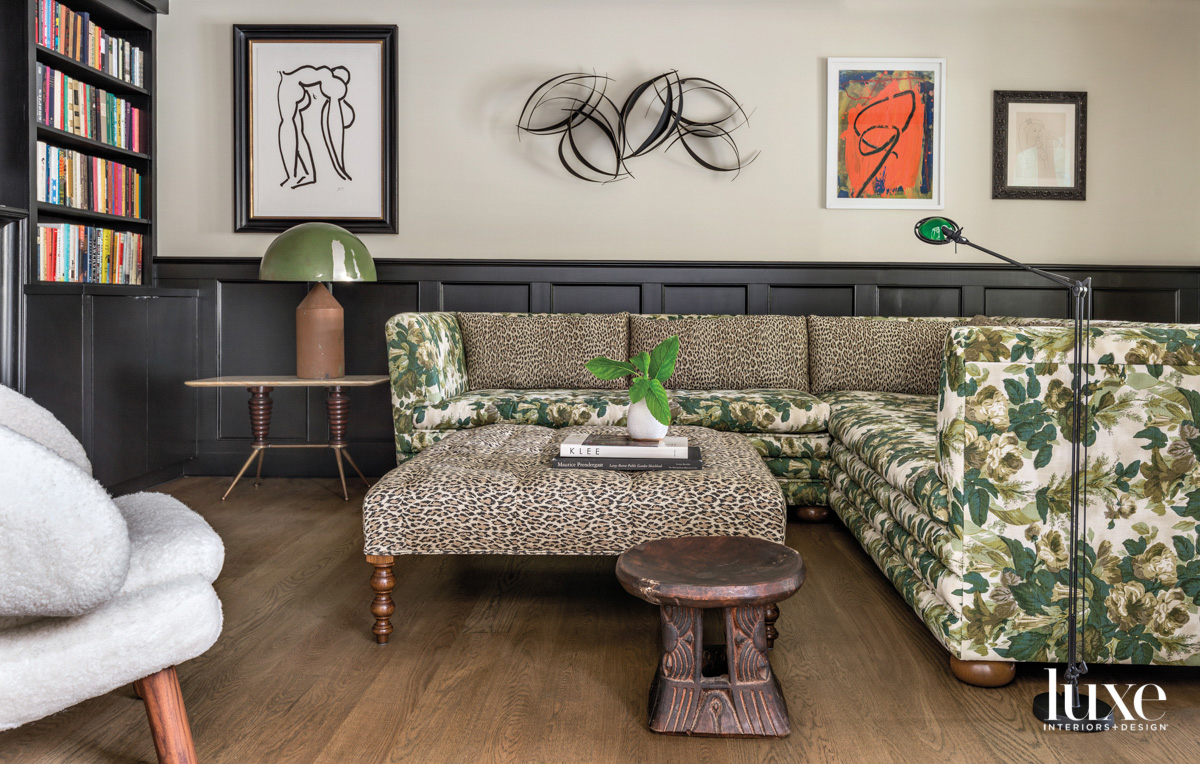 leopard and floral sofa