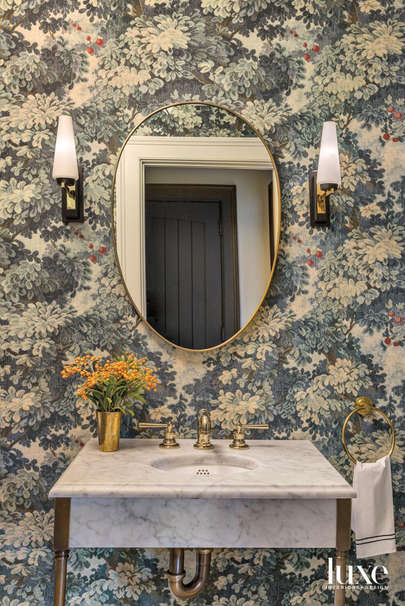 floral wallpaper powder room