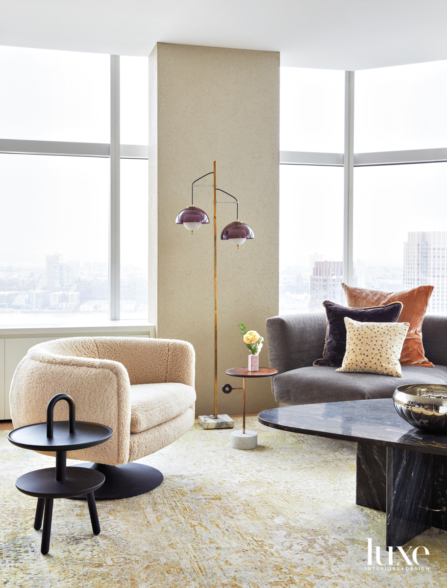 shearling chair in neutral living...