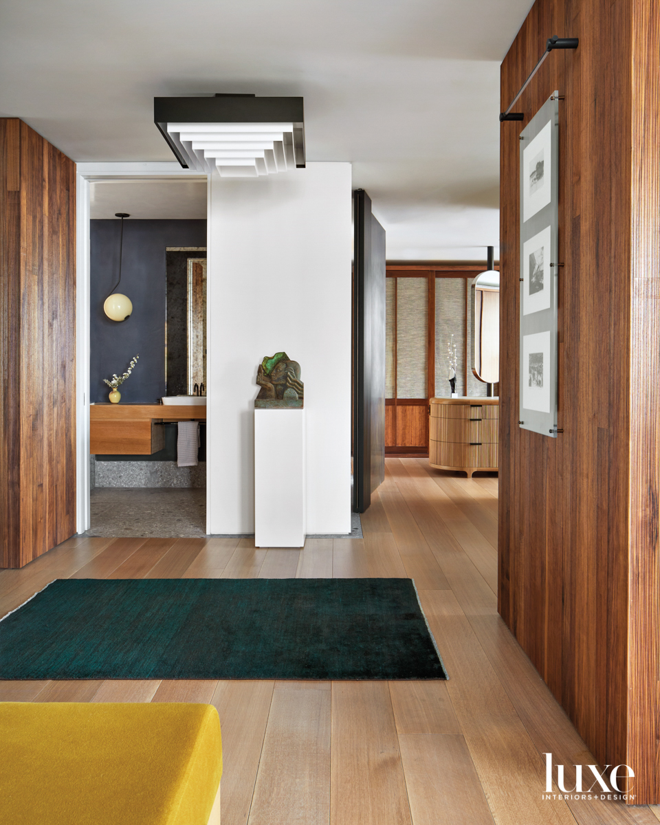 entry with walnut paneling