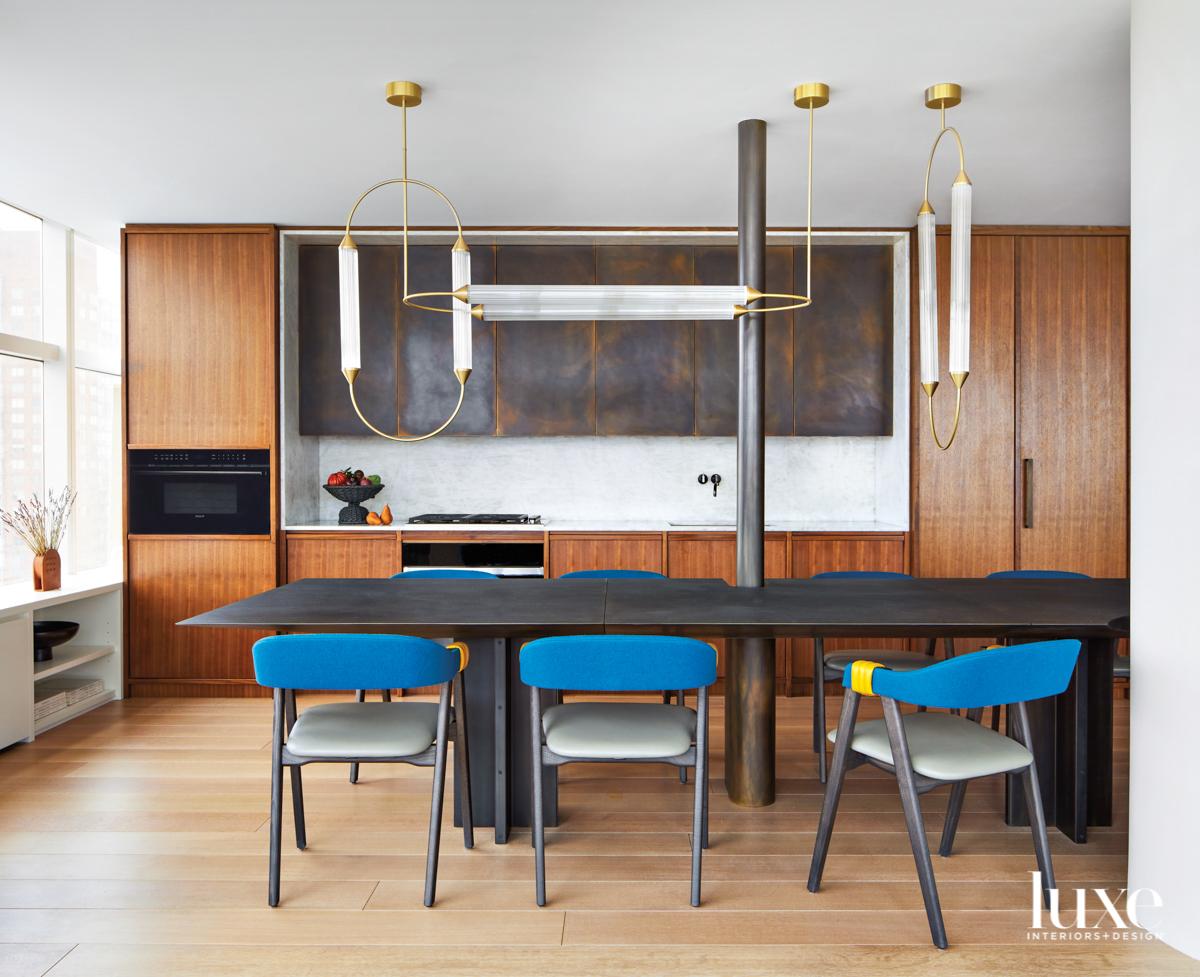 walnut kitchen with bronze cabinets