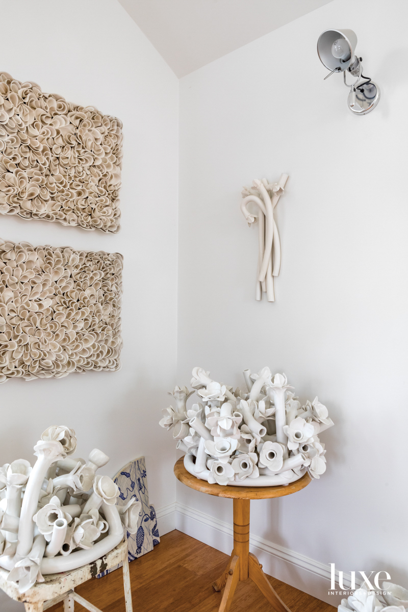 collection of white ceramic sculptures