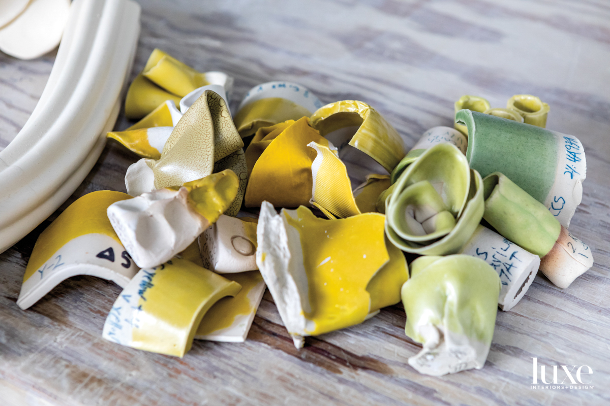 yellow and green ceramic sculptures