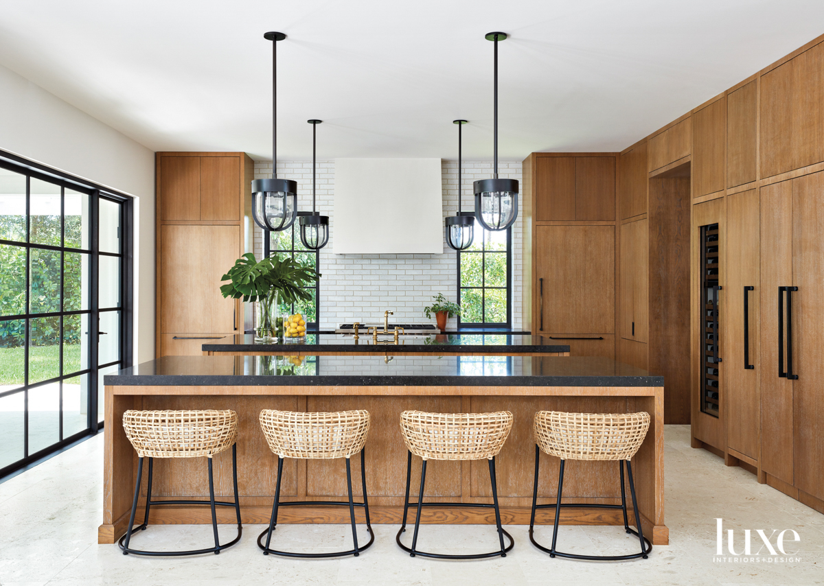 kitchen with cerused-oak cabinetry, wicker...