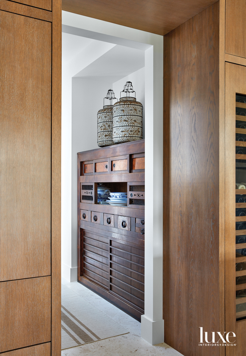 mudroom with japanese tansu chest