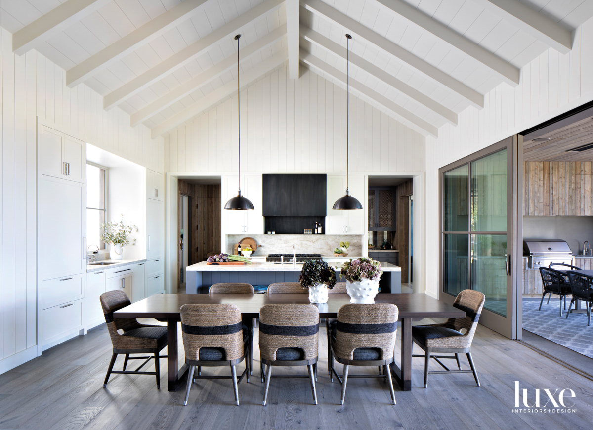 white dining room and kitchen...