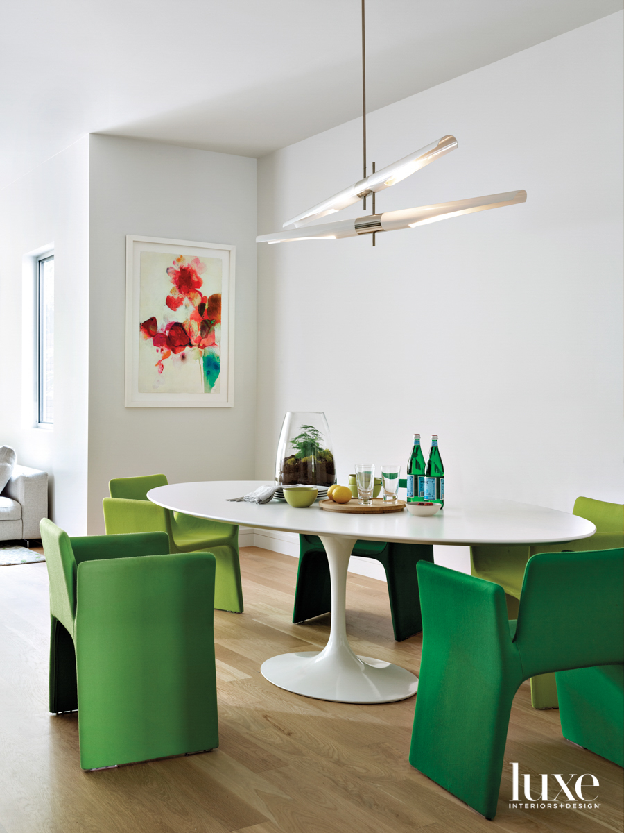 modern oblong white table with...