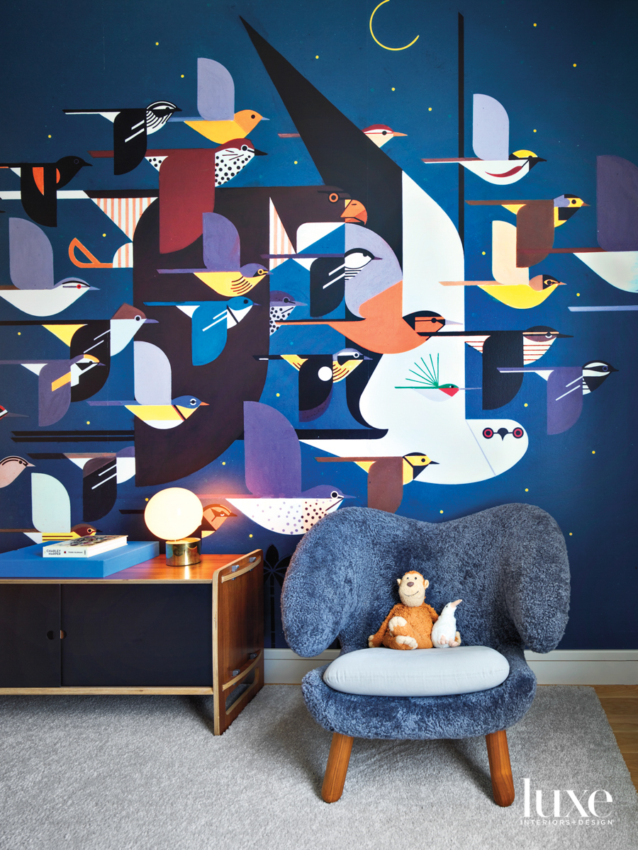 kids room with bird wallcovering...