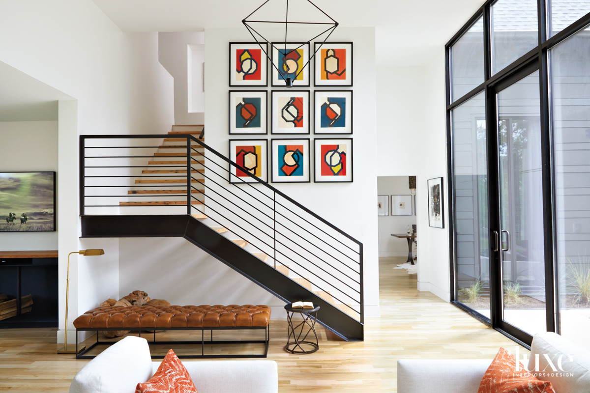 Modern metal staircase with collage...