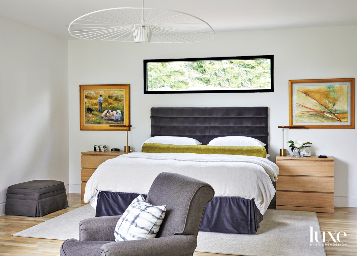 Minimalist bedroom with charcoal upholstered...