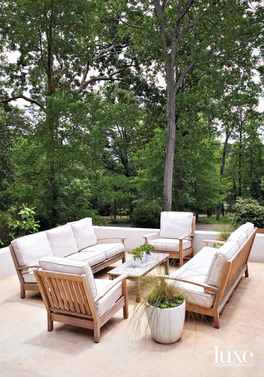 Outdoor seating group of teak...