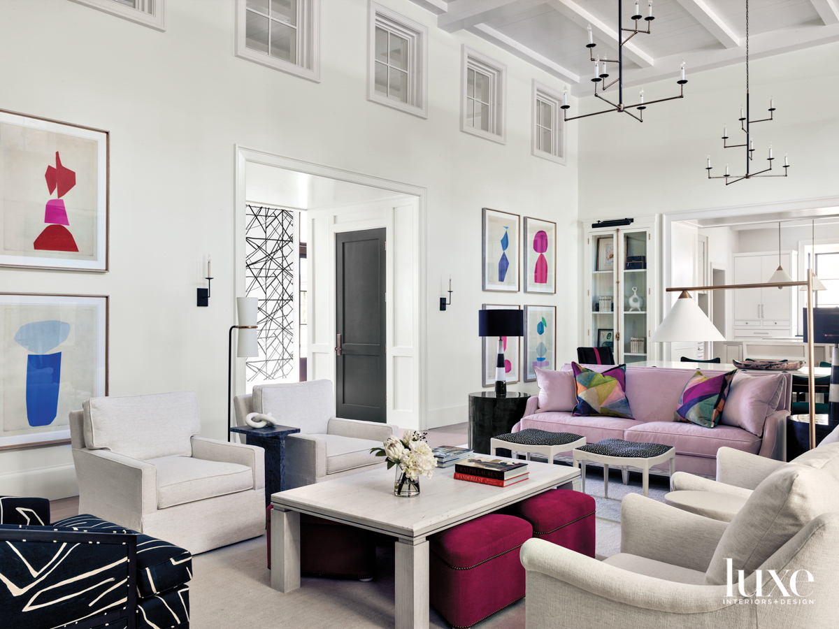 Open-format, double-height living room with...