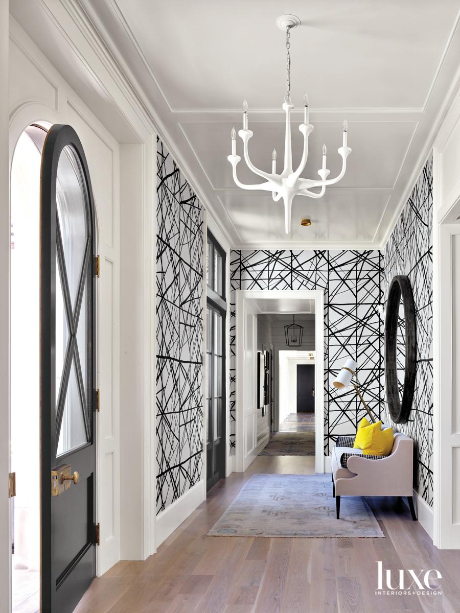 Large hallway with white trim...