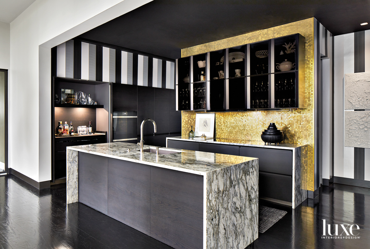 Glamorous kitchen with striped wallpaper...