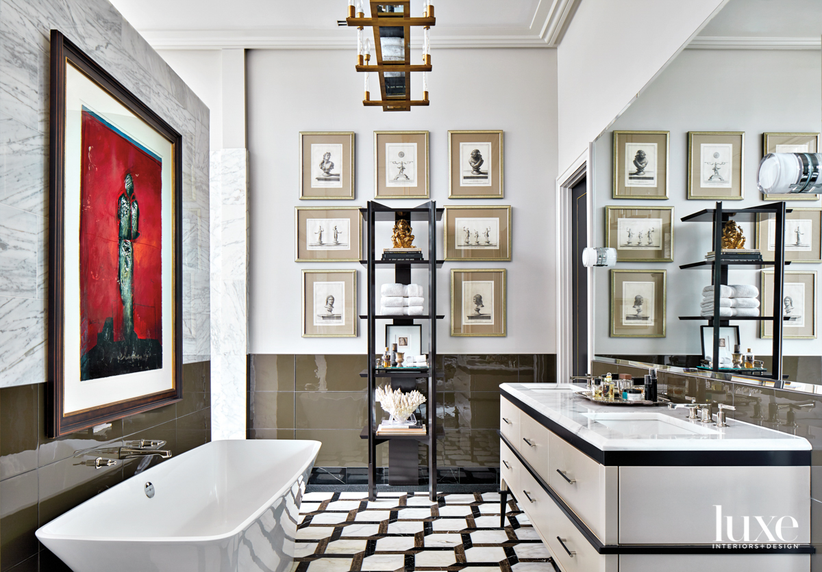 Dramatic and spacious bathroom with...