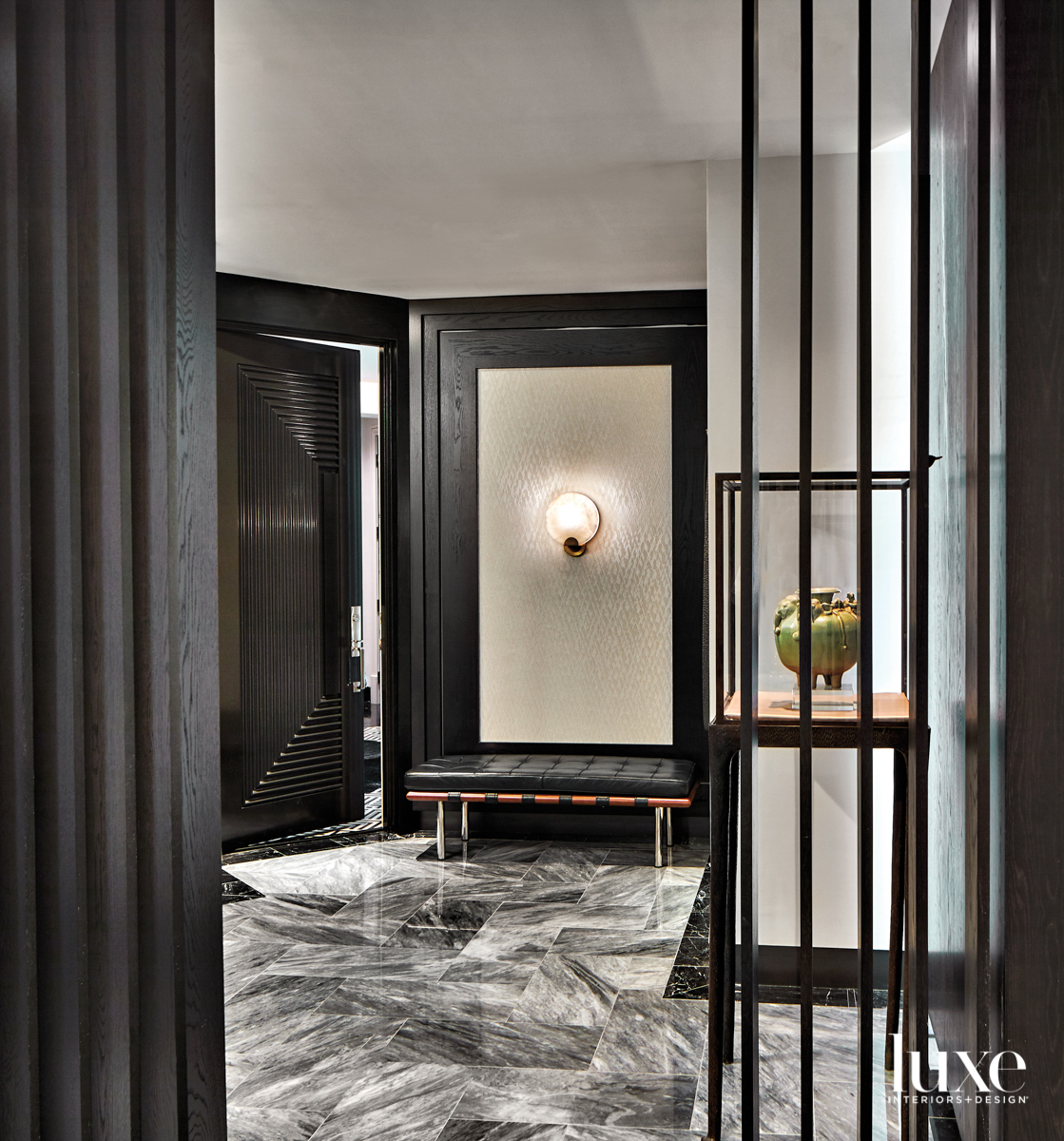 Art Deco-style entry hall with...
