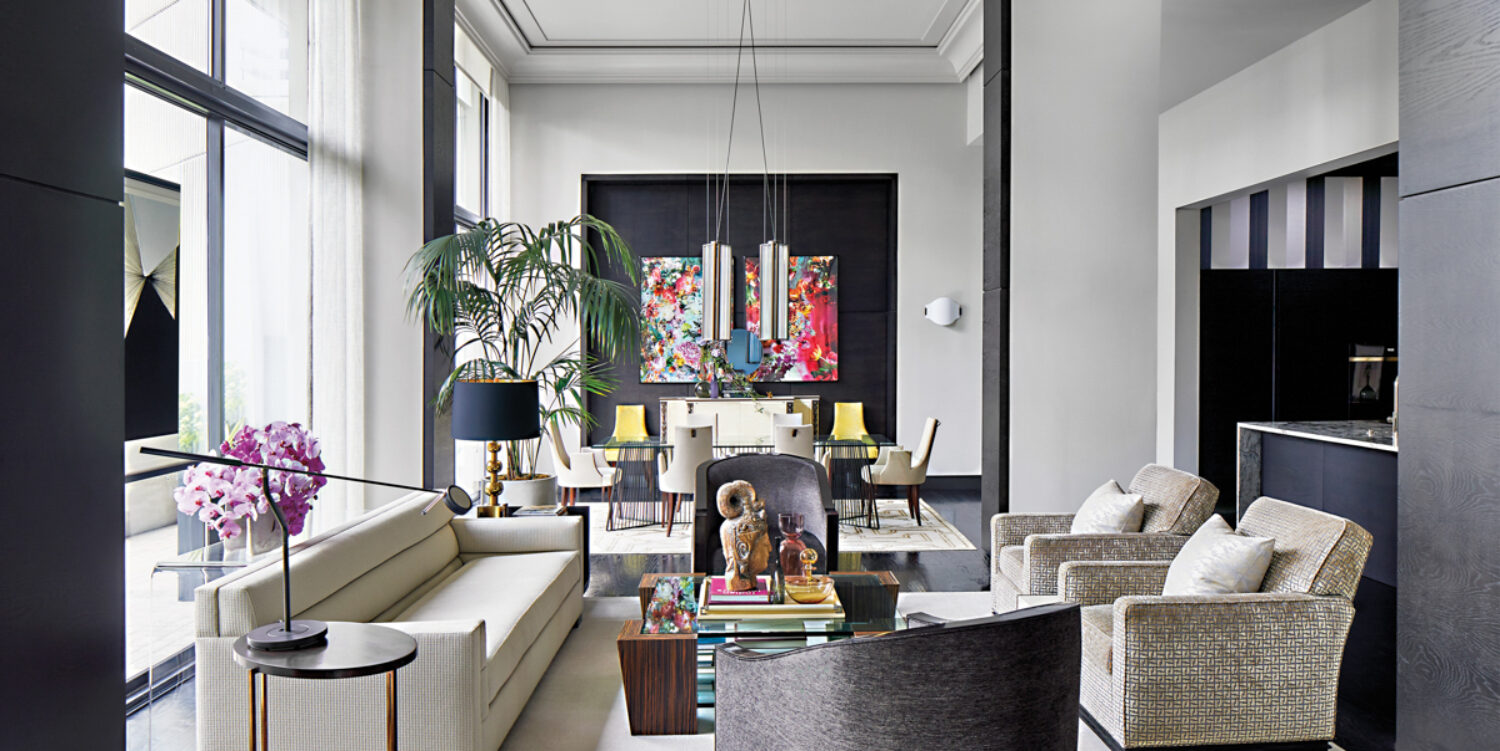 Spacious, open-format living room with Art Deco-inspired furnishings