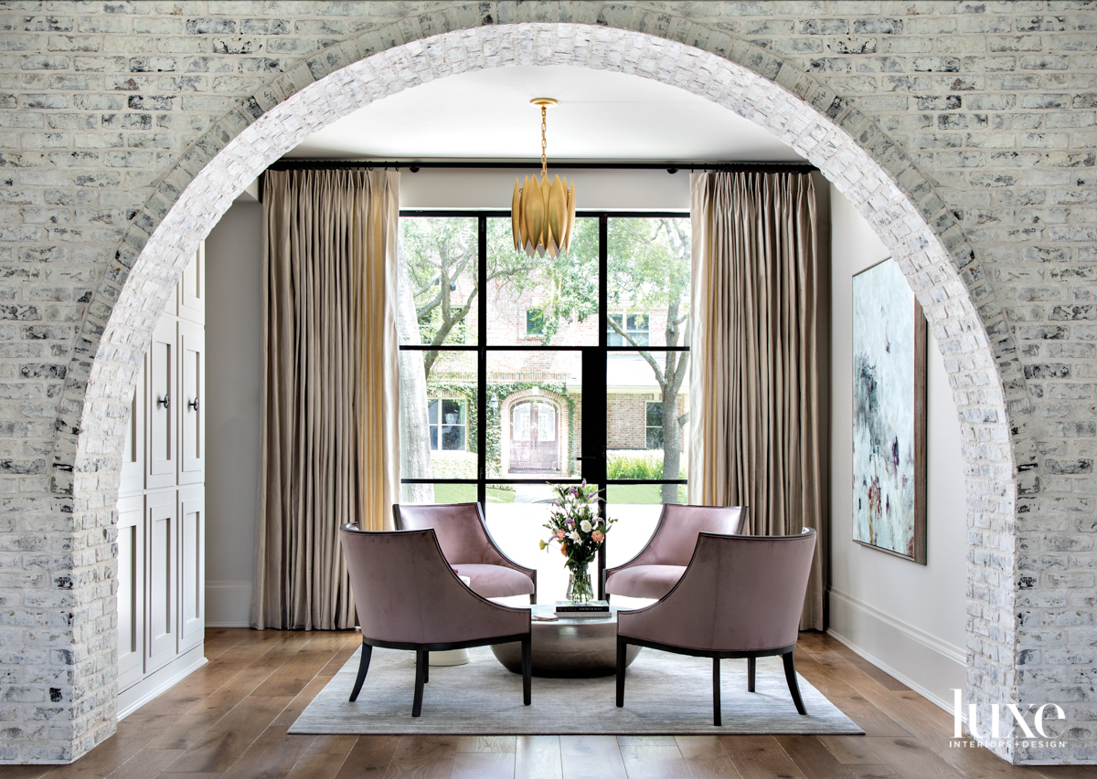Seating area with brick archway.