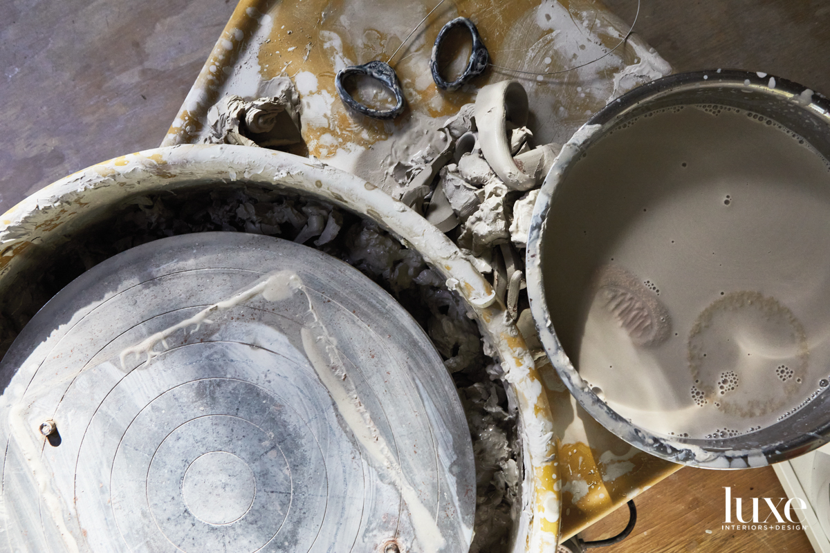 Remnants of materials used to create ceramic pieces.
