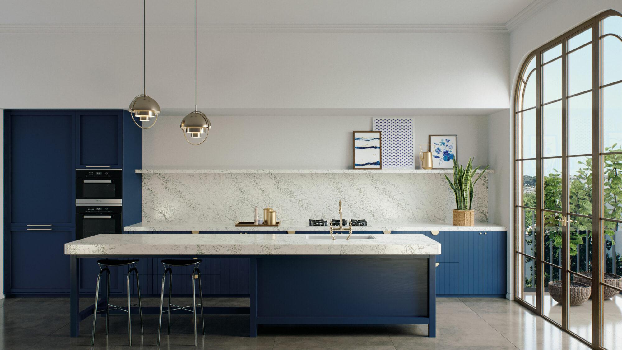 caesarstone arabeto on blue kitchen island