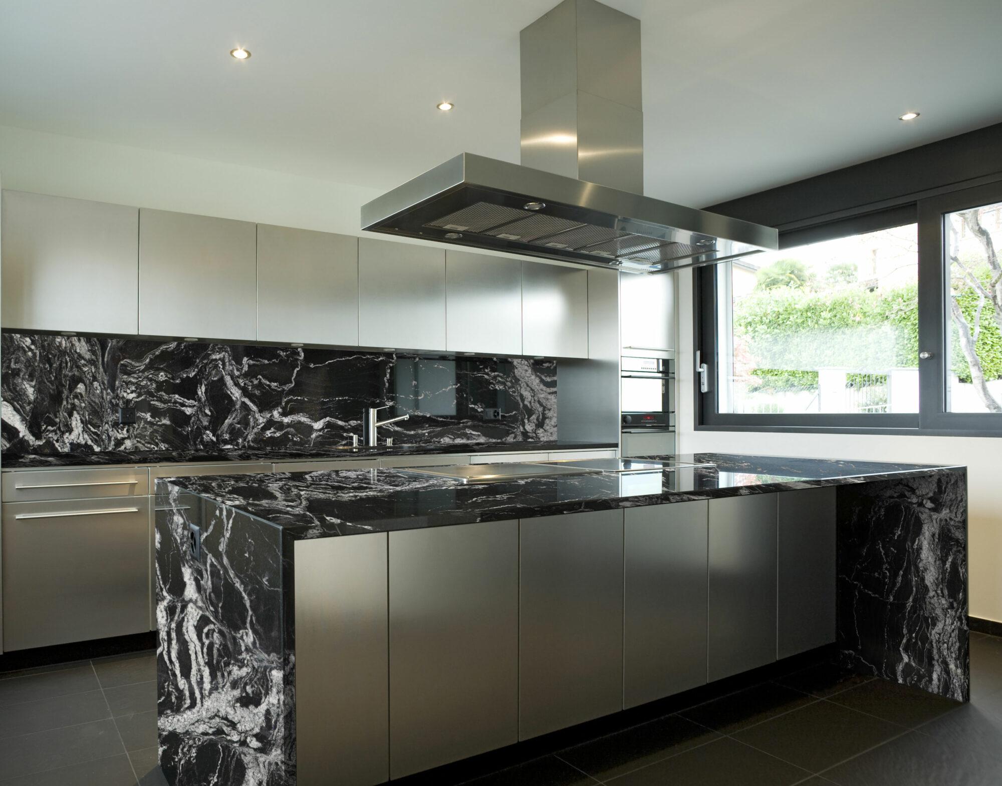 kitchen black finish granite