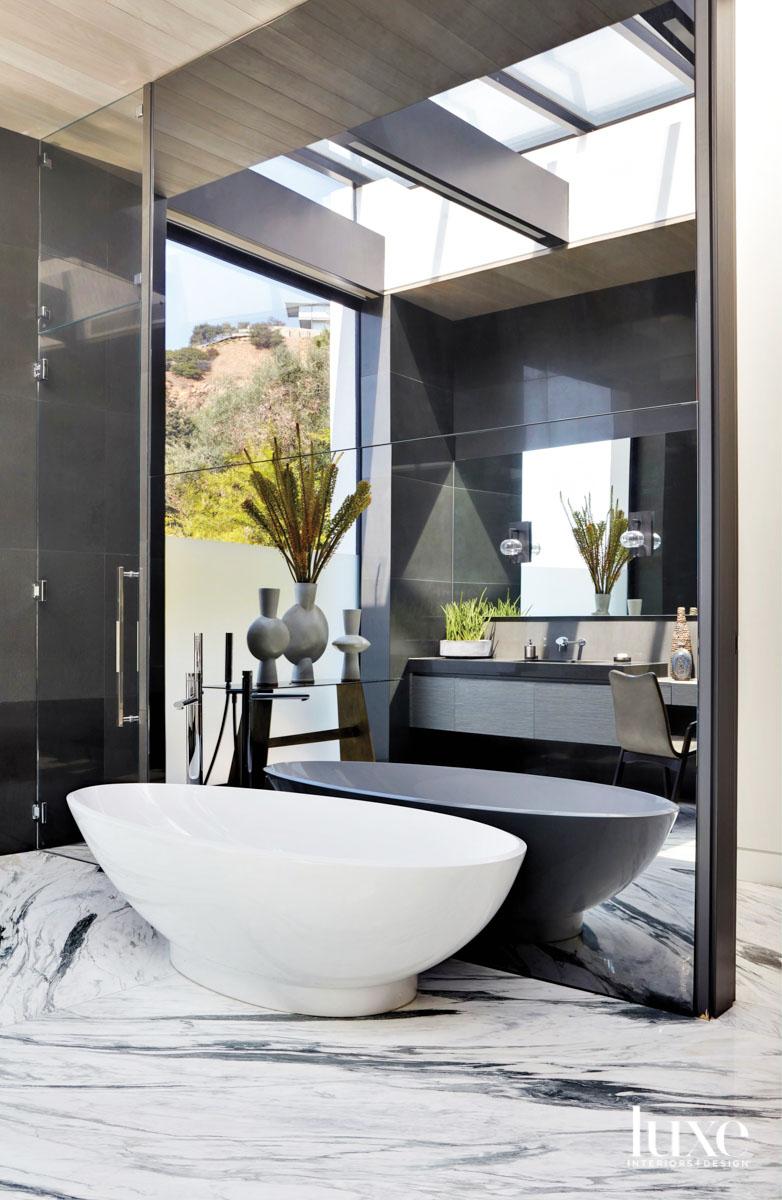 Close up of freestanding bathtub