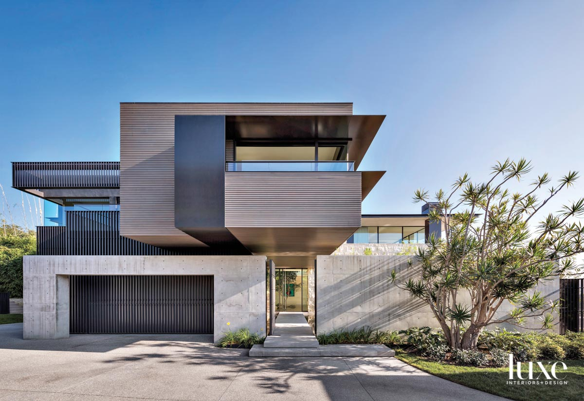 Front entry of a modern...
