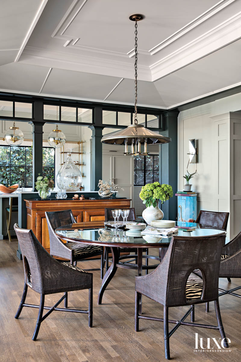 Dining room with large round...