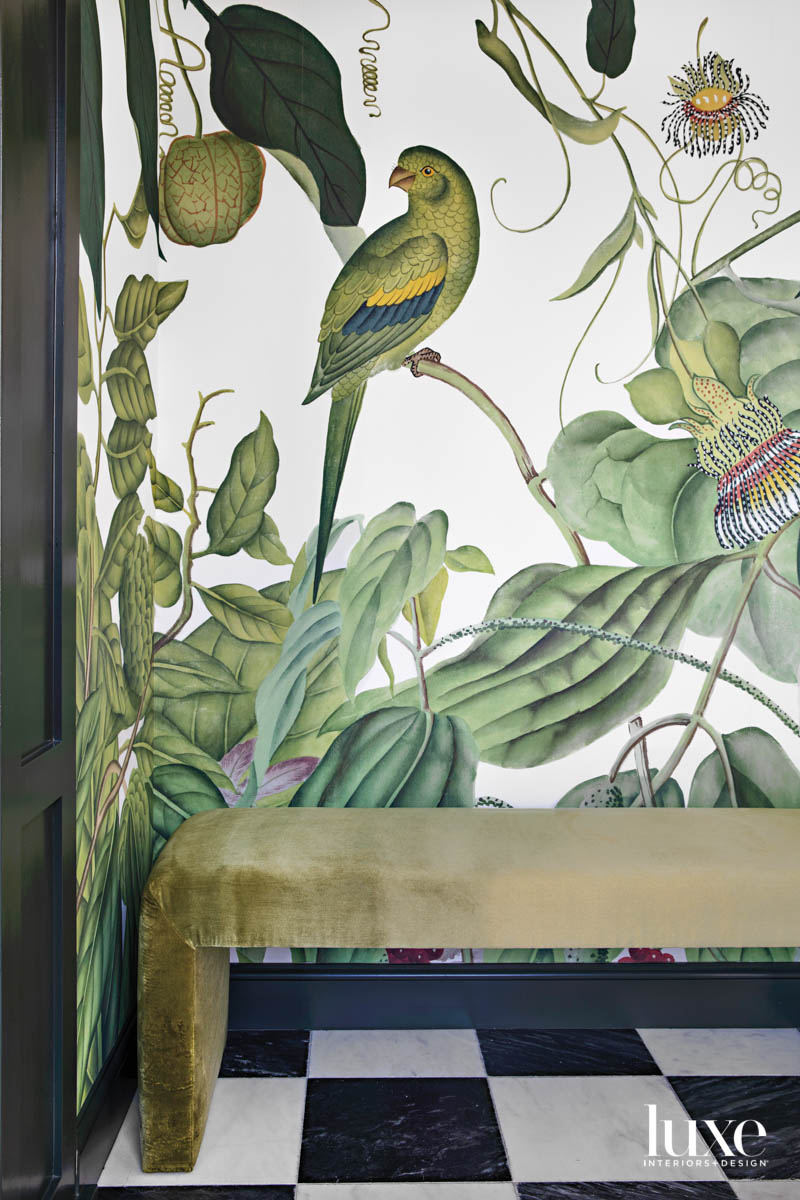 Detail of tropical print wall...
