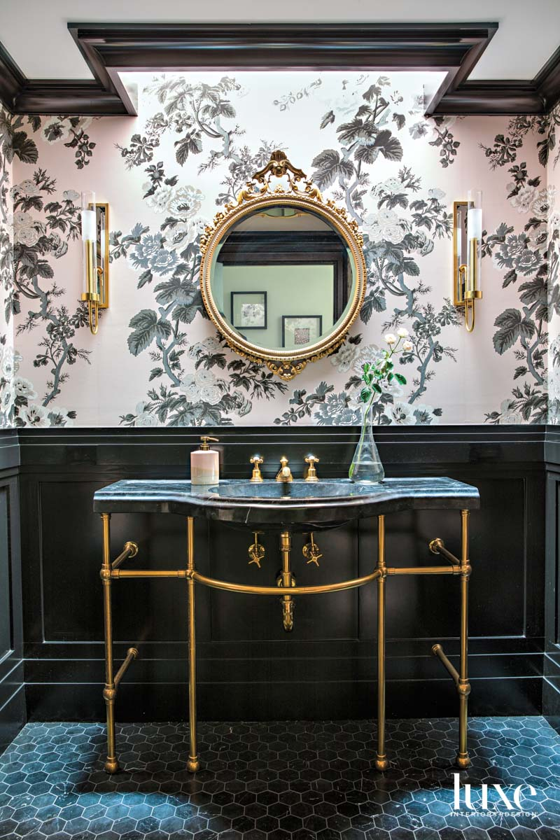 Powder room with pink and...