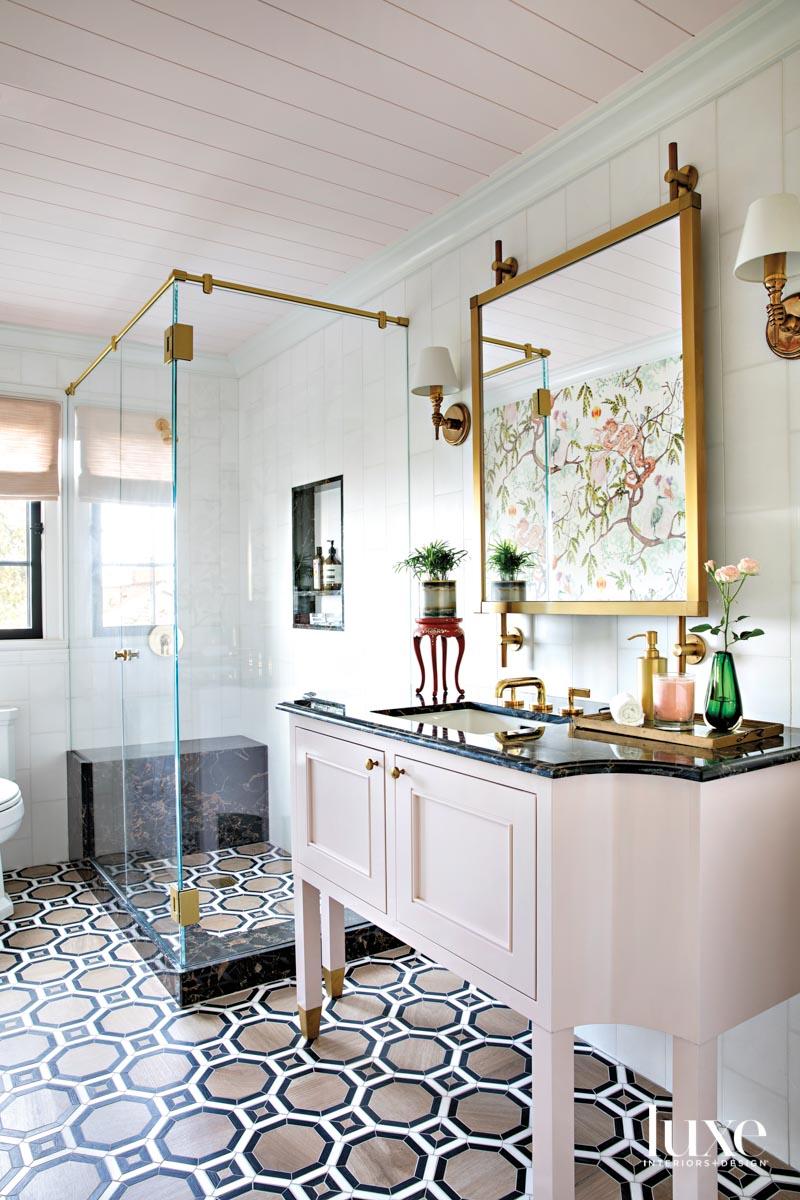 Bathroom with hexagonal pattern floor...