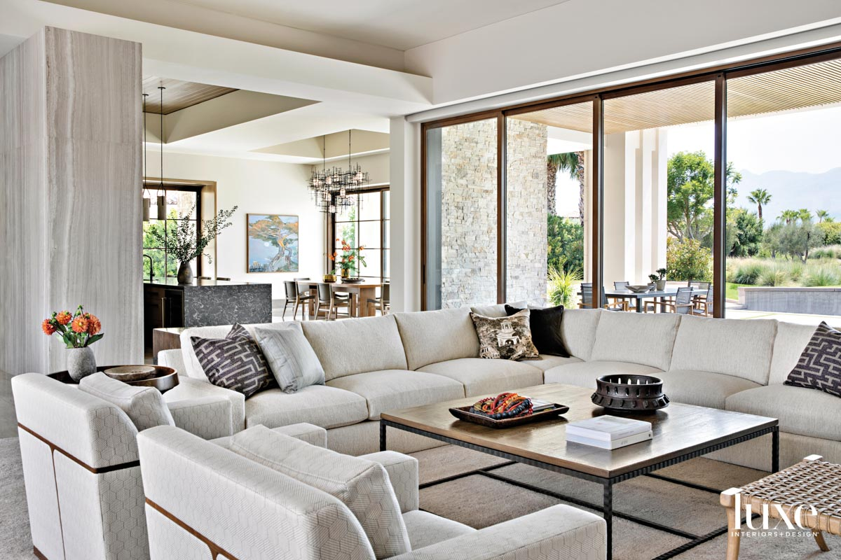 Living room with a sectional...